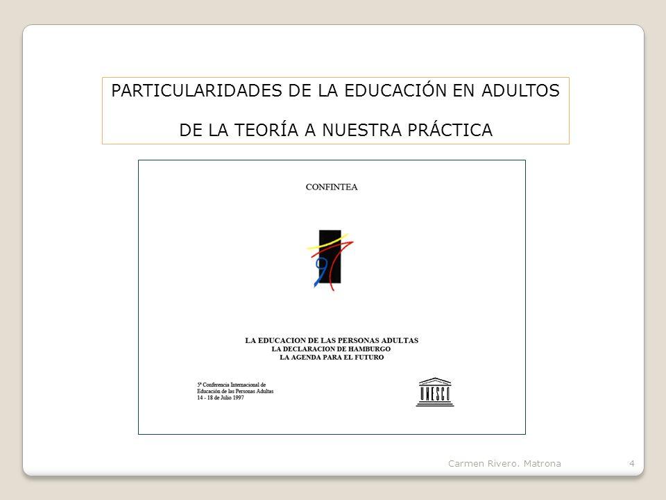 PARTICULARIDADES DE LA EDUCACIÓN EN ADULTOS