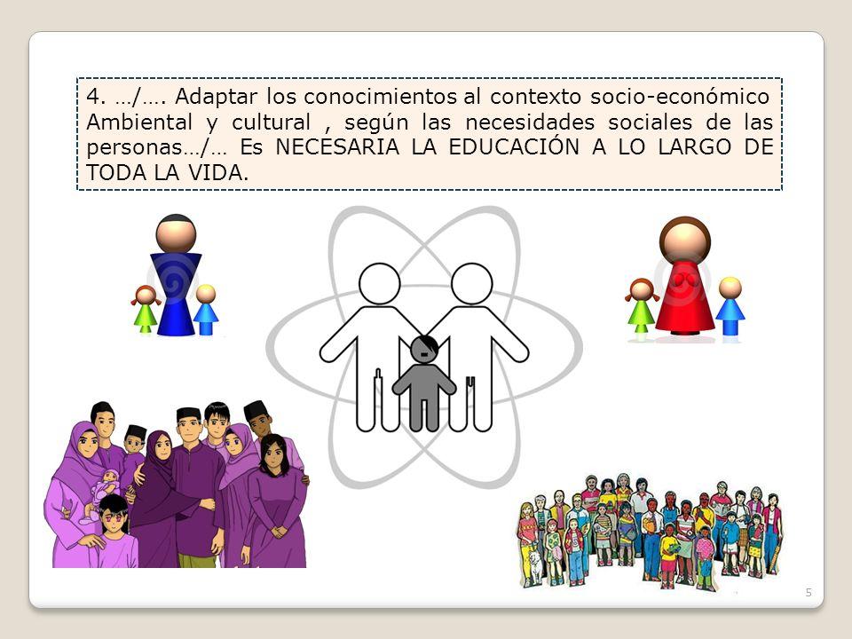 4. …/…. Adaptar los conocimientos al contexto socio-económico