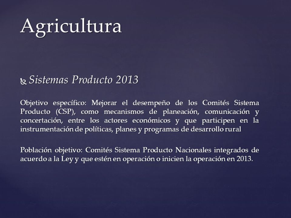 Agricultura Sistemas Producto 2013