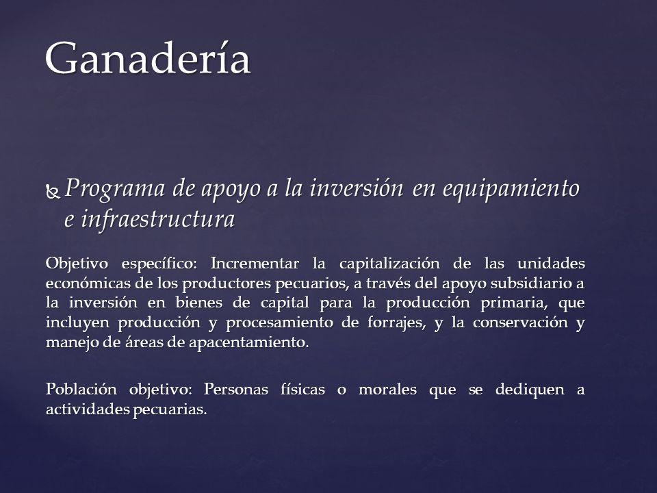 Ganadería Programa de apoyo a la inversión en equipamiento e infraestructura.