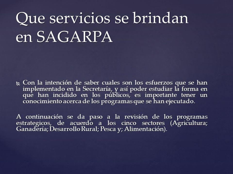 Que servicios se brindan en SAGARPA