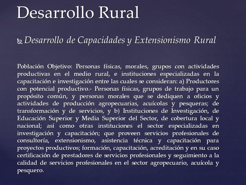 Desarrollo Rural Desarrollo de Capacidades y Extensionismo Rural