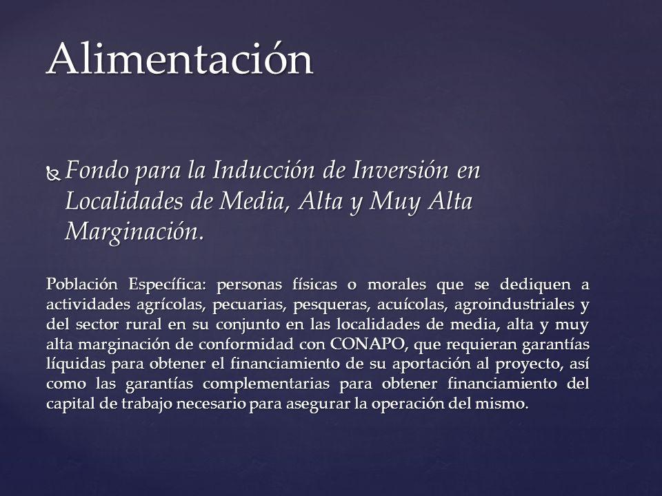 Alimentación Fondo para la Inducción de Inversión en Localidades de Media, Alta y Muy Alta Marginación.
