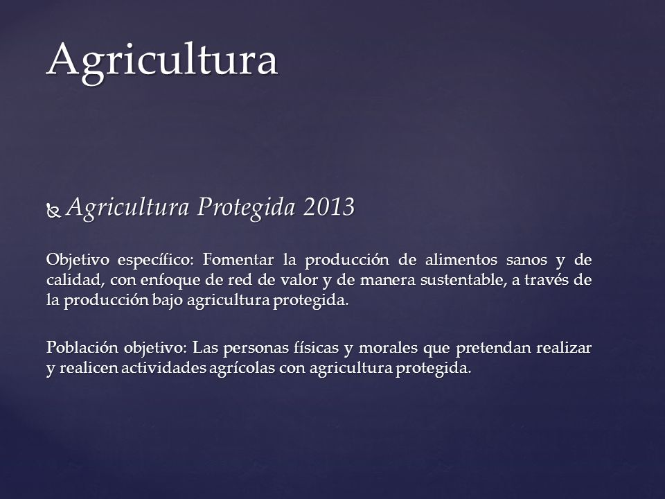 Agricultura Agricultura Protegida 2013