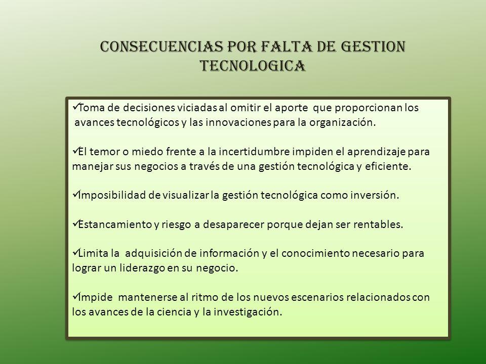 CONSECUENCIAS POR FALTA DE GESTION TECNOLOGICA