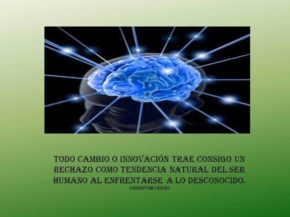 Todo cambio o innovación trae consigo un rechazo como tendencia natural del ser humano al enfrentarse a lo desconocido.