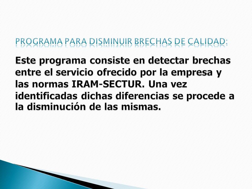 Programa para disminuir brechas de calidad: Este programa consiste en detectar brechas entre el servicio ofrecido por la empresa y las normas IRAM-SECTUR.
