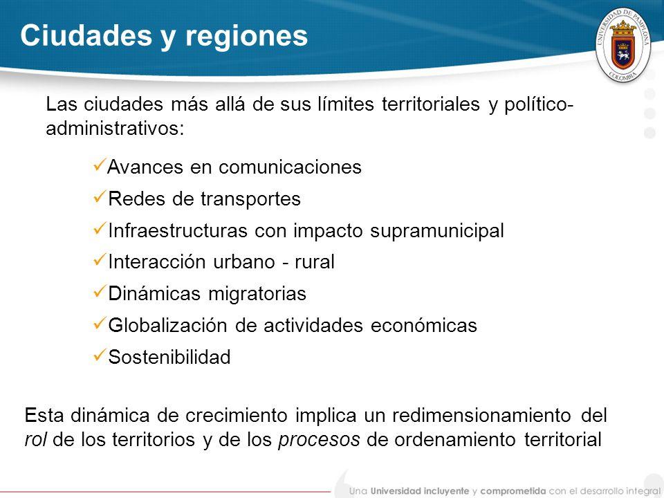 Ciudades y regiones Las ciudades más allá de sus límites territoriales y político-administrativos: Avances en comunicaciones.