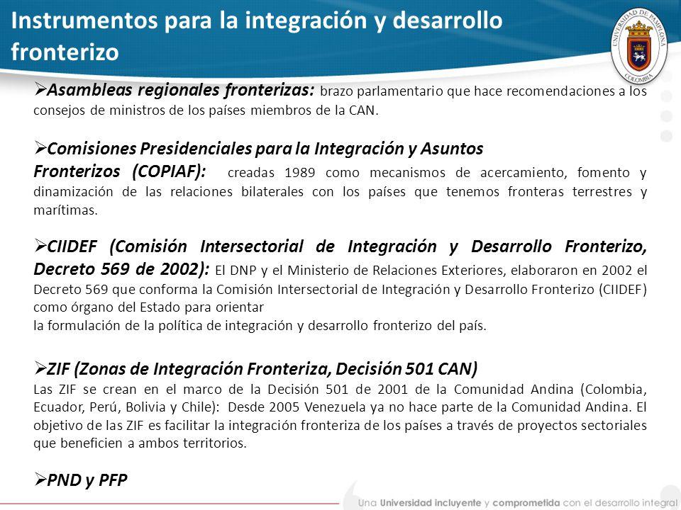 Instrumentos para la integración y desarrollo fronterizo