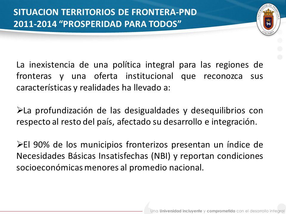 SITUACION TERRITORIOS DE FRONTERA-PND 2011-2014 PROSPERIDAD PARA TODOS