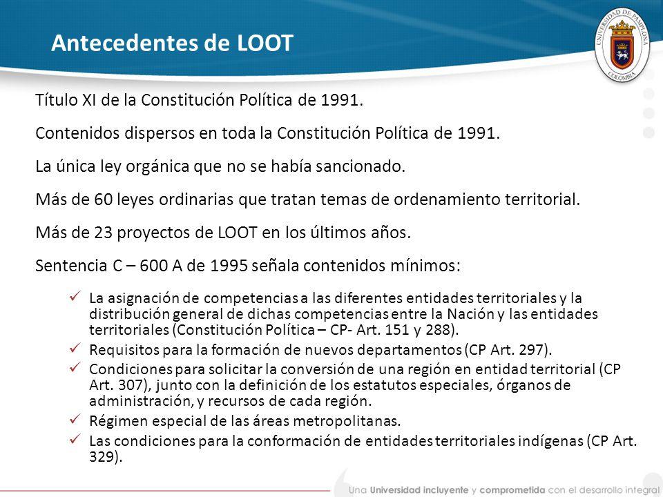 Antecedentes de LOOT Título XI de la Constitución Política de 1991.