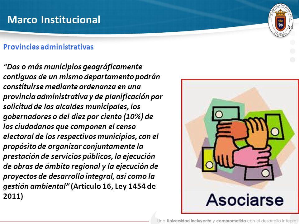 Marco Institucional Provincias administrativas