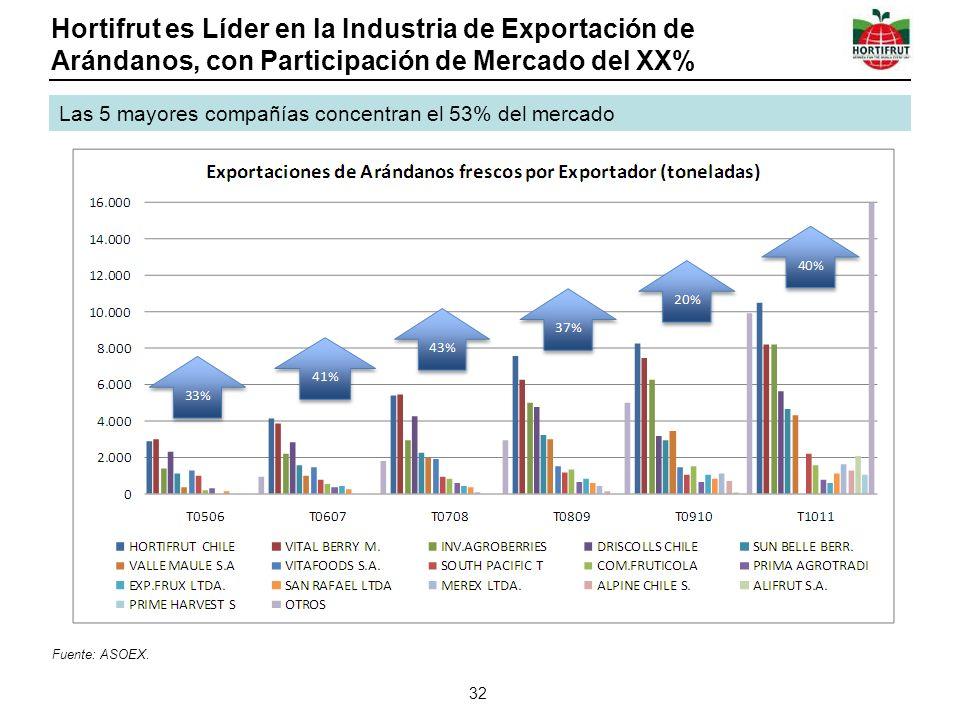 Hortifrut es Líder en la Industria de Exportación de Arándanos, con Participación de Mercado del XX%