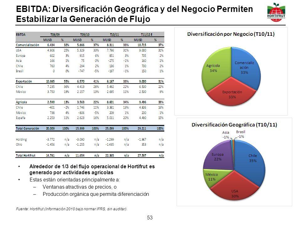 EBITDA: Diversificación Geográfica y del Negocio Permiten Estabilizar la Generación de Flujo