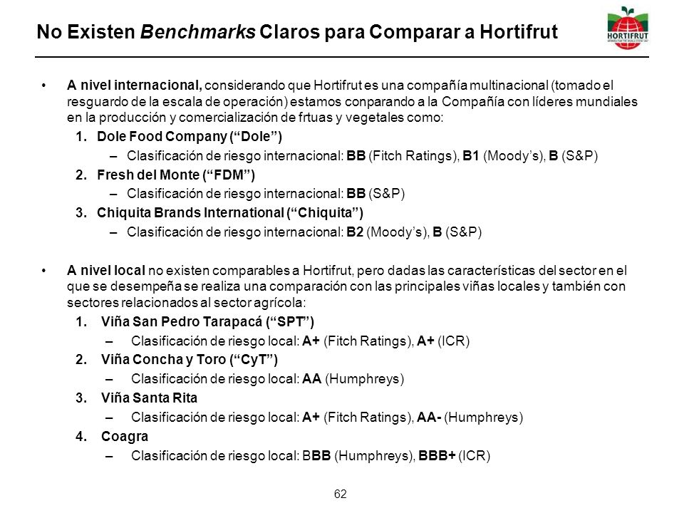 No Existen Benchmarks Claros para Comparar a Hortifrut
