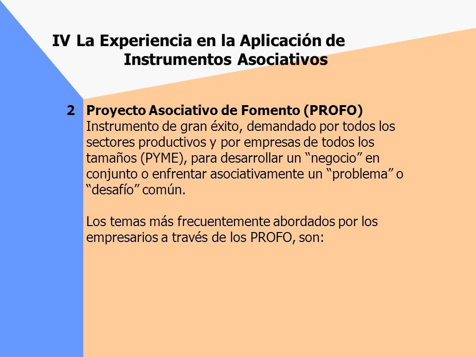 La Experiencia en la Aplicación de Instrumentos Asociativos