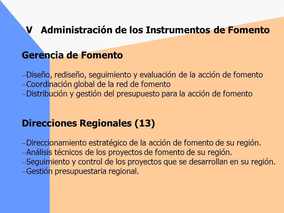V Administración de los Instrumentos de Fomento
