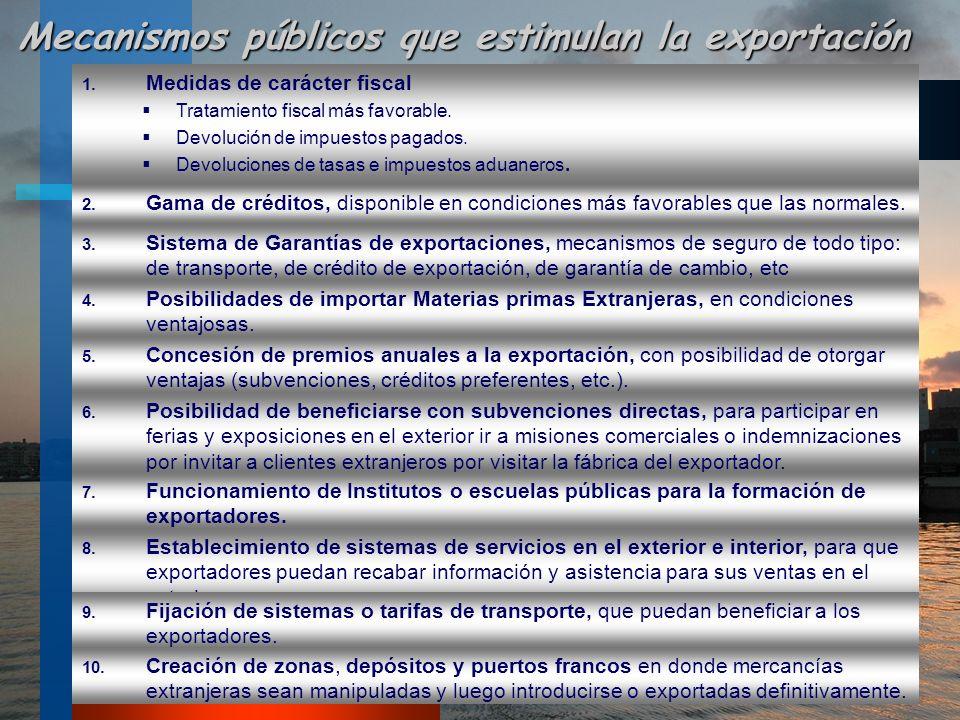 Mecanismos públicos que estimulan la exportación