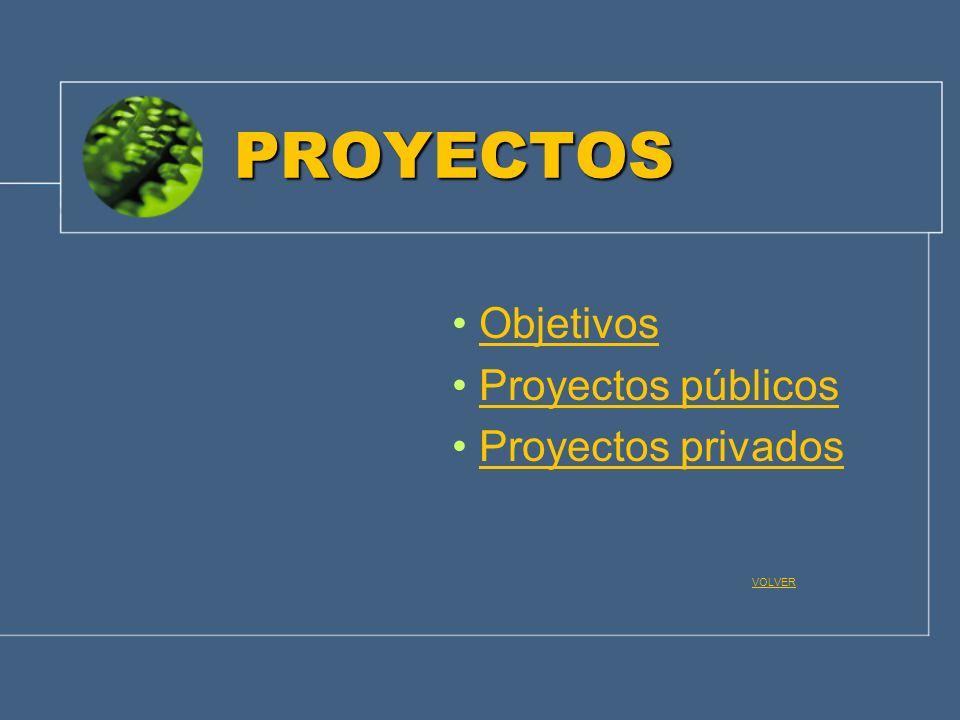Objetivos Proyectos públicos Proyectos privados