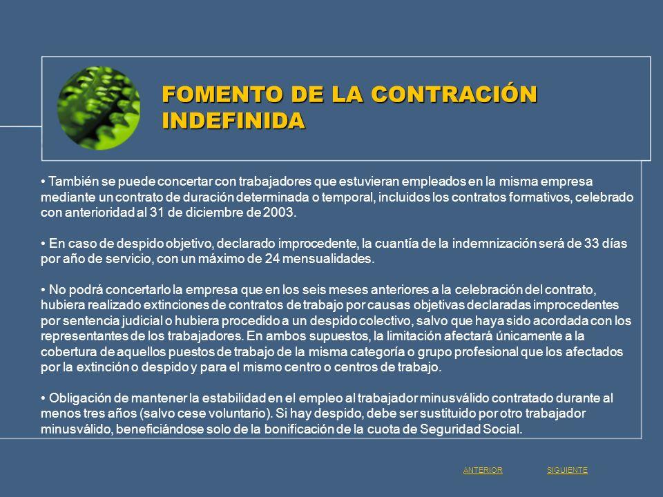 FOMENTO DE LA CONTRACIÓN INDEFINIDA
