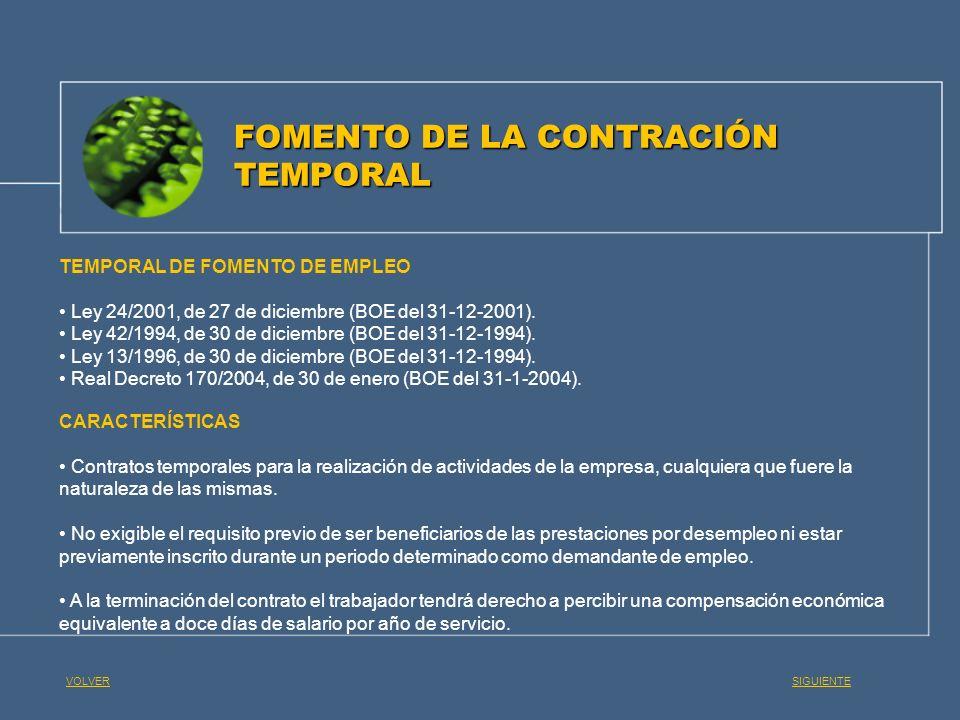 FOMENTO DE LA CONTRACIÓN TEMPORAL