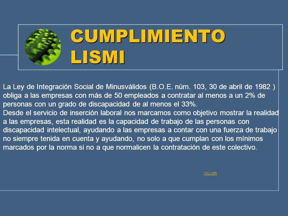 CUMPLIMIENTO LISMI La Ley de Integración Social de Minusválidos (B.O.E. núm. 103, 30 de abril de 1982 )