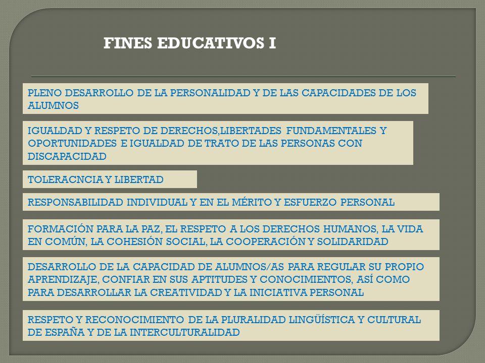 FINES EDUCATIVOS I PLENO DESARROLLO DE LA PERSONALIDAD Y DE LAS CAPACIDADES DE LOS ALUMNOS.