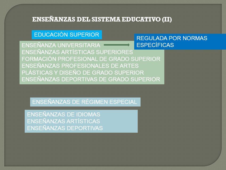 ENSEÑANZAS DEL SISTEMA EDUCATIVO (II)