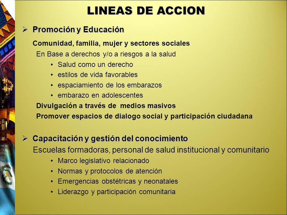 LINEAS DE ACCION Comunidad, familia, mujer y sectores sociales