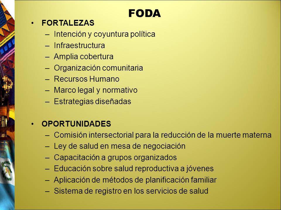 FODA FORTALEZAS Intención y coyuntura política Infraestructura
