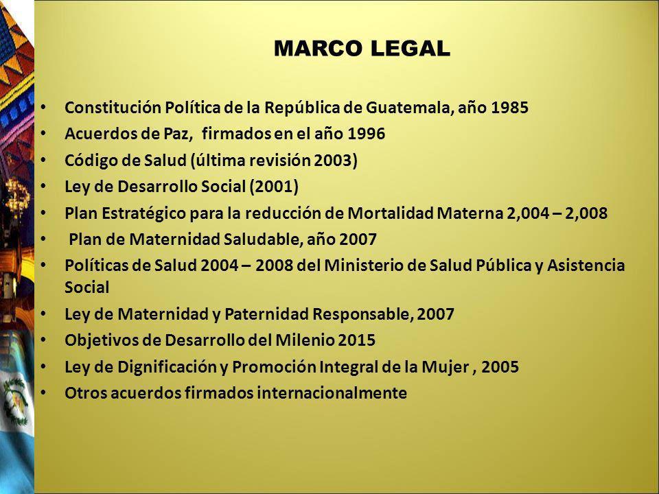 MARCO LEGAL Constitución Política de la República de Guatemala, año 1985. Acuerdos de Paz, firmados en el año 1996.