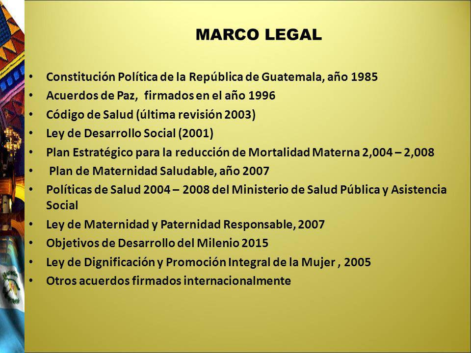 MARCO LEGALConstitución Política de la República de Guatemala, año 1985. Acuerdos de Paz, firmados en el año 1996.