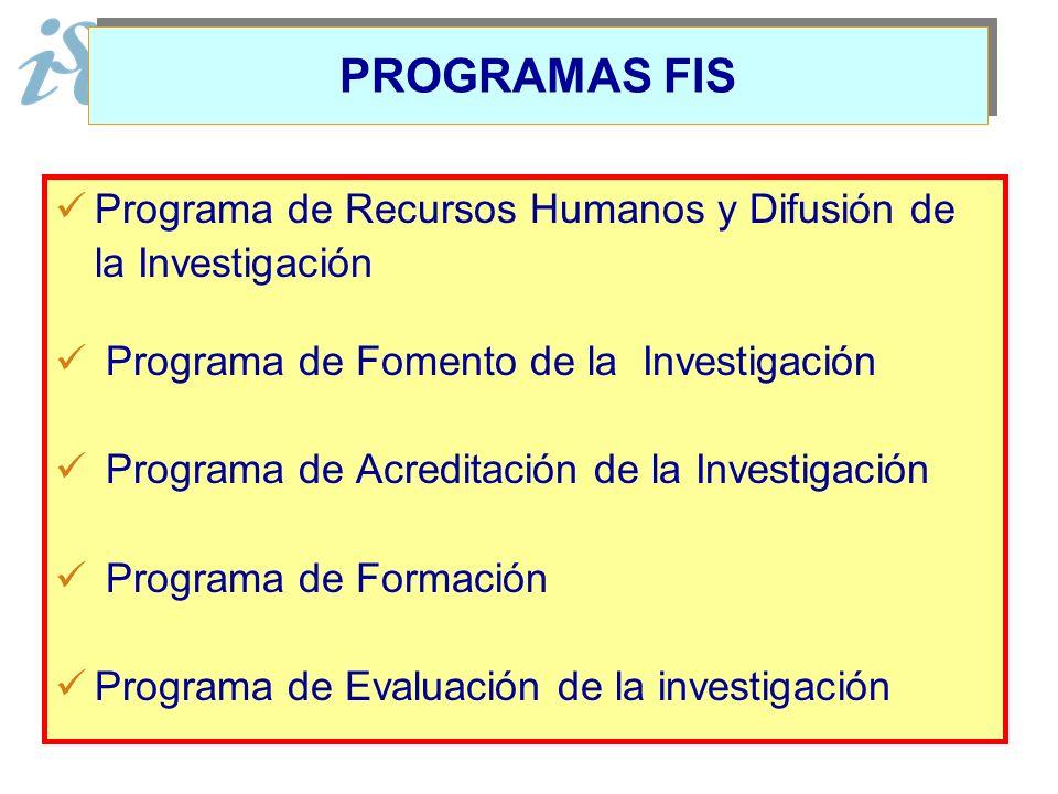 PROGRAMAS FIS Programa de Recursos Humanos y Difusión de la Investigación. Programa de Fomento de la Investigación.