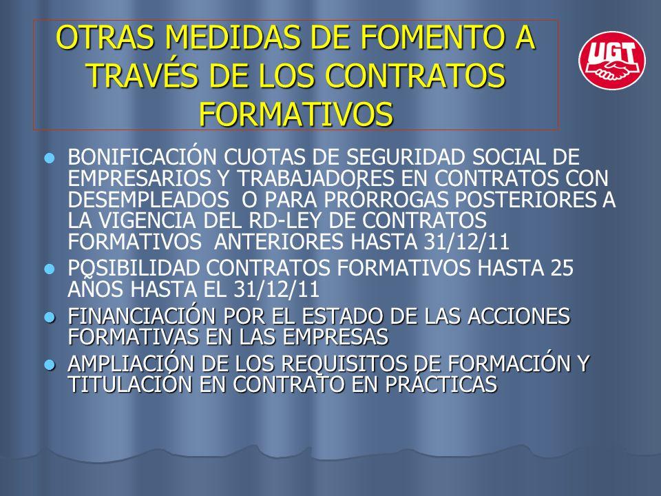 OTRAS MEDIDAS DE FOMENTO A TRAVÉS DE LOS CONTRATOS FORMATIVOS