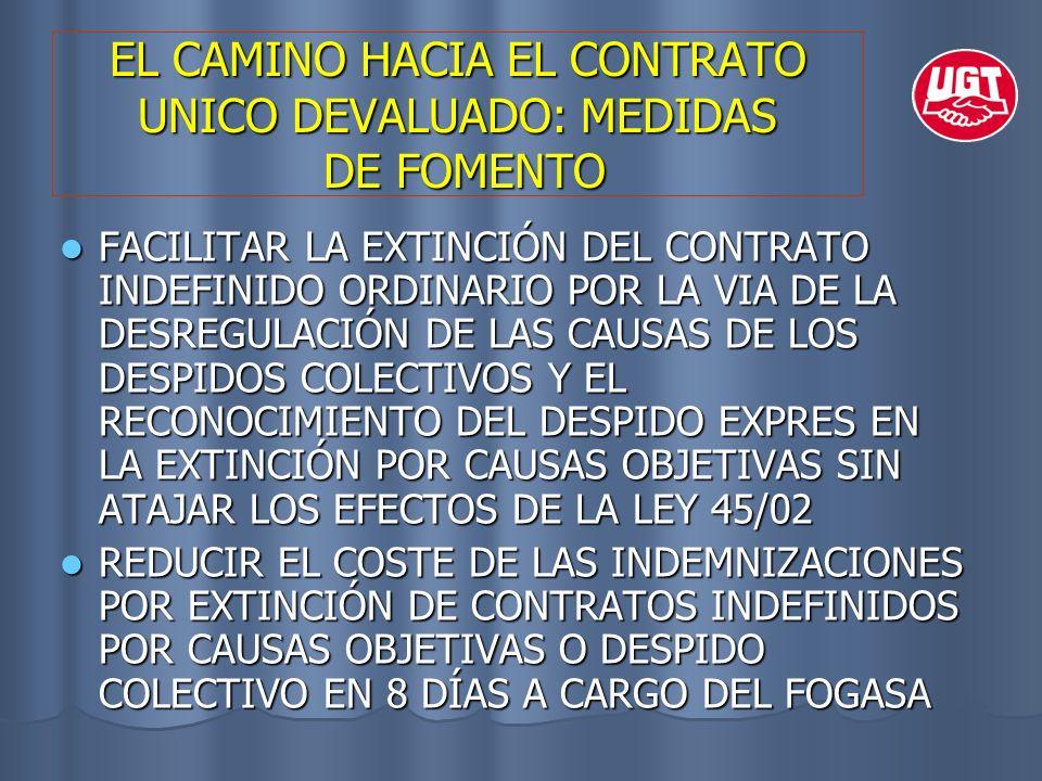 EL CAMINO HACIA EL CONTRATO UNICO DEVALUADO: MEDIDAS DE FOMENTO