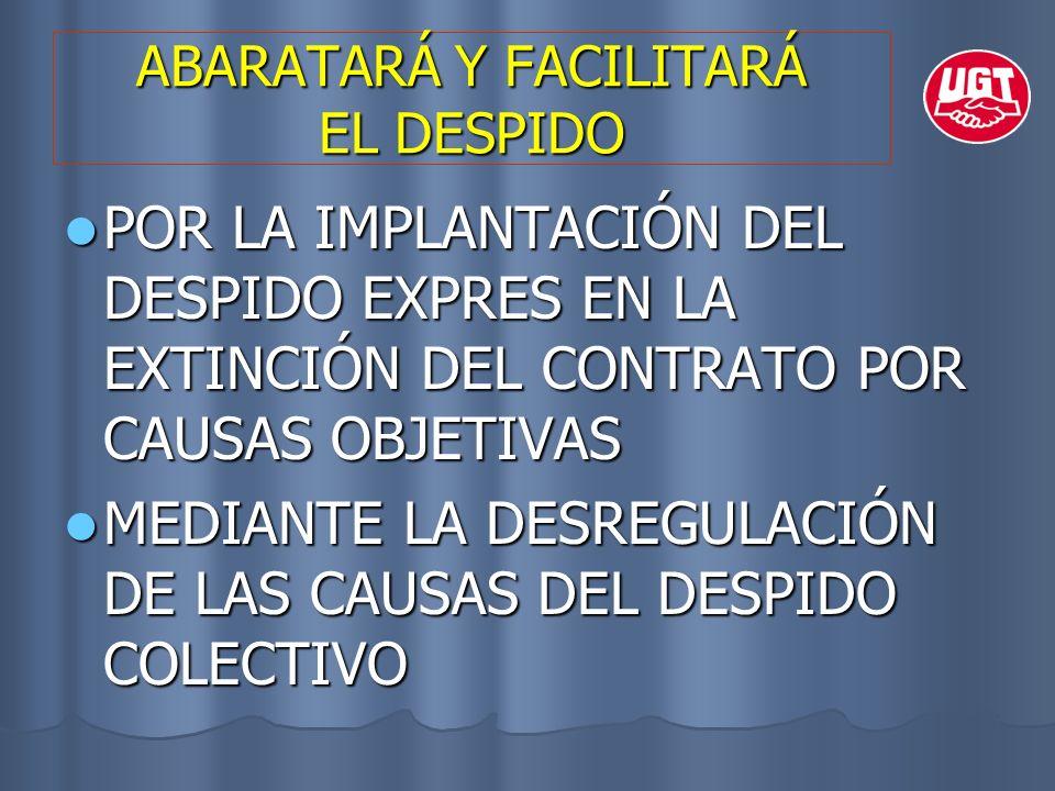 ABARATARÁ Y FACILITARÁ EL DESPIDO