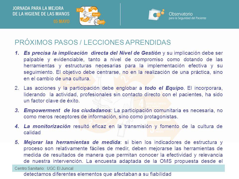 PRÓXIMOS PASOS / LECCIONES APRENDIDAS