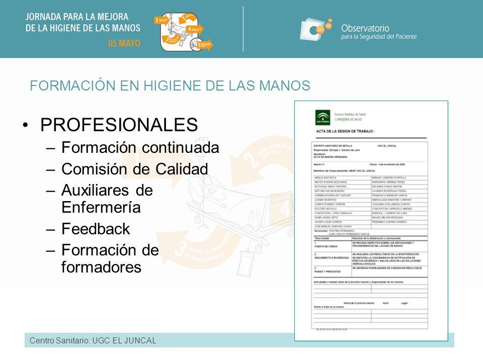 PROFESIONALES Formación continuada Comisión de Calidad