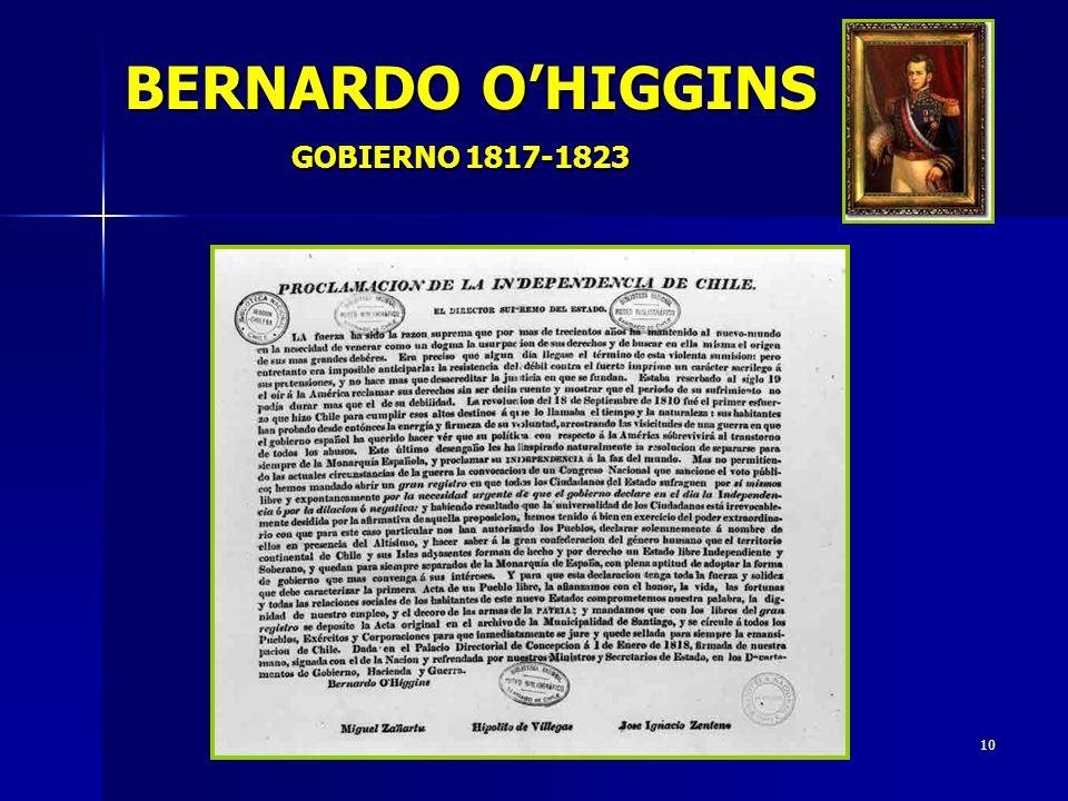 BERNARDO O'HIGGINS GOBIERNO 1817-1823