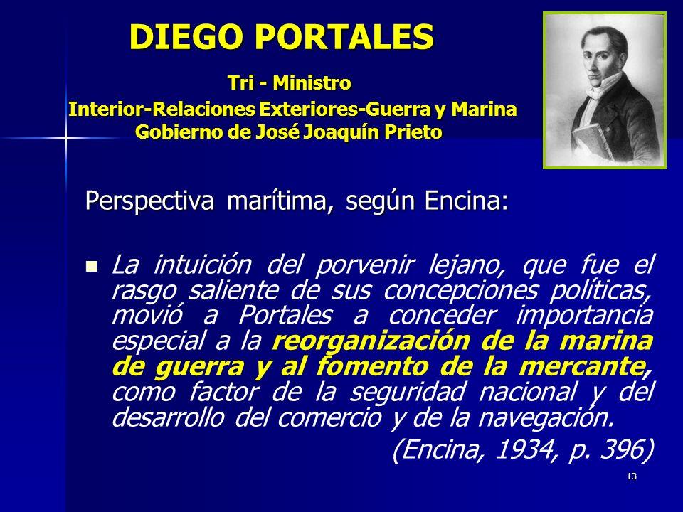 DIEGO PORTALES Tri - Ministro Interior-Relaciones Exteriores-Guerra y Marina Gobierno de José Joaquín Prieto