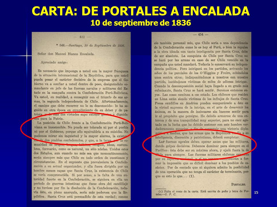 CARTA: DE PORTALES A ENCALADA 10 de septiembre de 1836