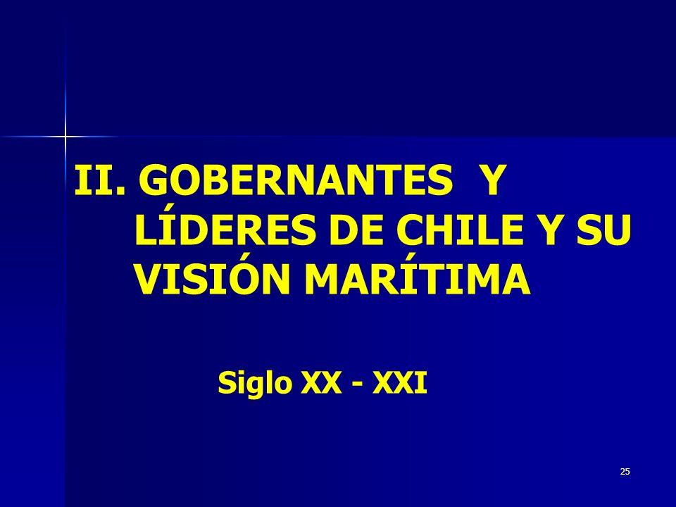 II. GOBERNANTES Y LÍDERES DE CHILE Y SU VISIÓN MARÍTIMA Siglo XX - XXI