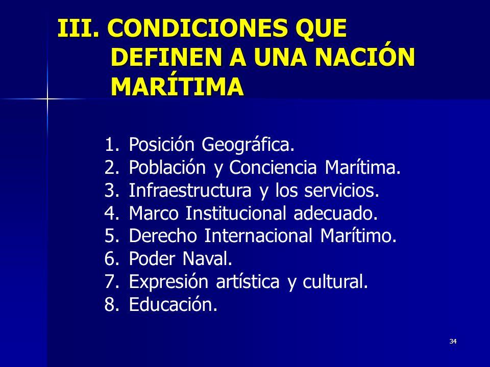 III. CONDICIONES QUE DEFINEN A UNA NACIÓN MARÍTIMA