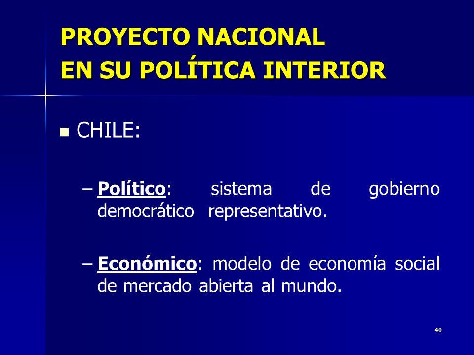 PROYECTO NACIONAL EN SU POLÍTICA INTERIOR