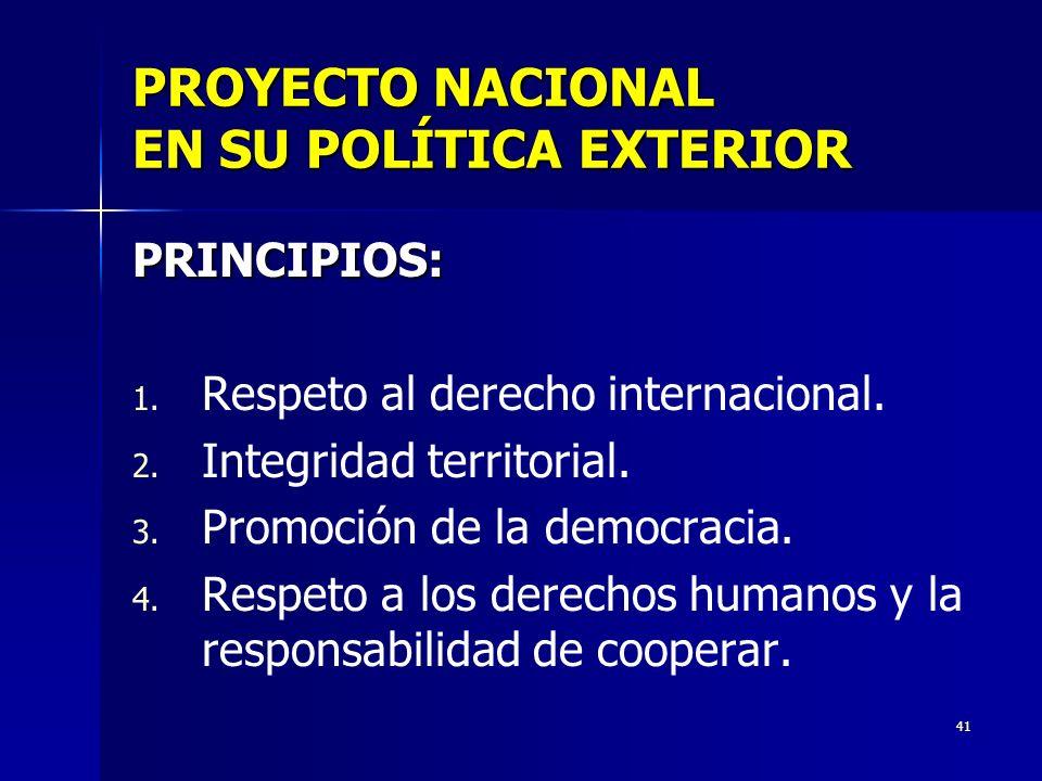 PROYECTO NACIONAL EN SU POLÍTICA EXTERIOR