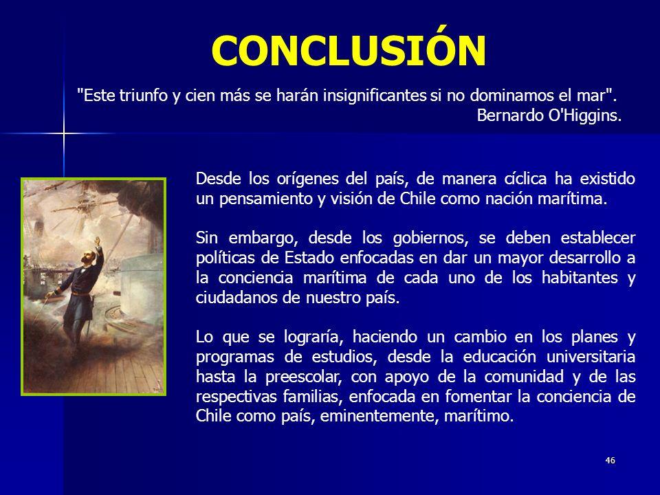CONCLUSIÓN Este triunfo y cien más se harán insignificantes si no dominamos el mar . Bernardo O Higgins.