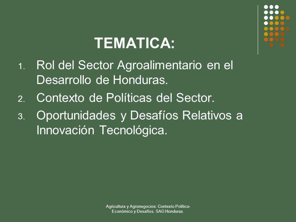 TEMATICA: Rol del Sector Agroalimentario en el Desarrollo de Honduras.