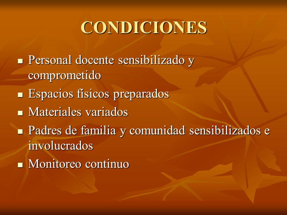 CONDICIONES Personal docente sensibilizado y comprometido