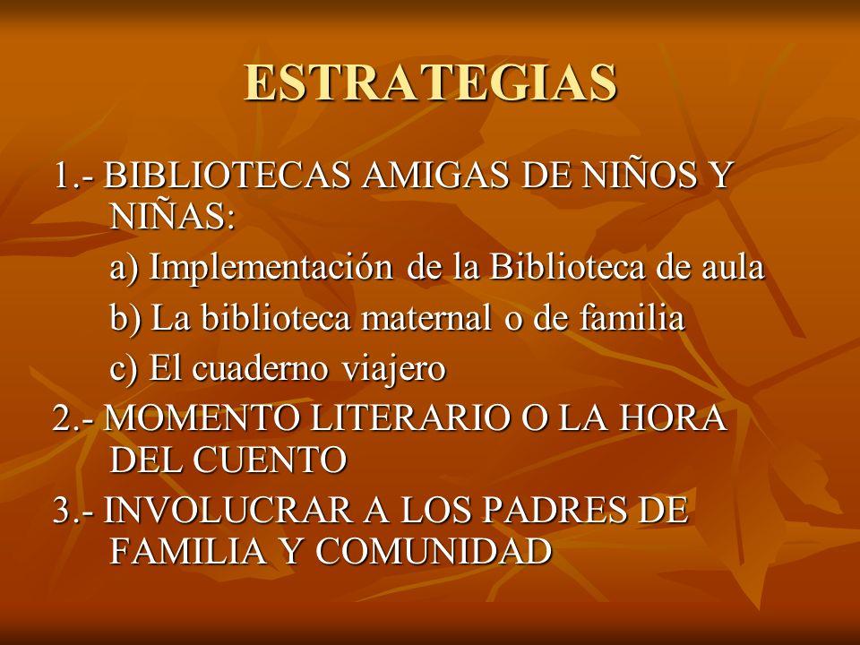 ESTRATEGIAS 1.- BIBLIOTECAS AMIGAS DE NIÑOS Y NIÑAS: