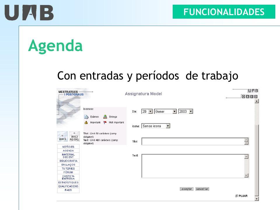 FUNCIONALIDADES Agenda Con entradas y períodos de trabajo